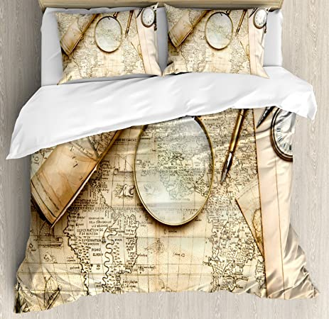 Amazon wanderlust decor duvet cover set by ambesonne vintage wanderlust decor duvet cover set by ambesonne vintage world map with old retro objects and gumiabroncs Gallery