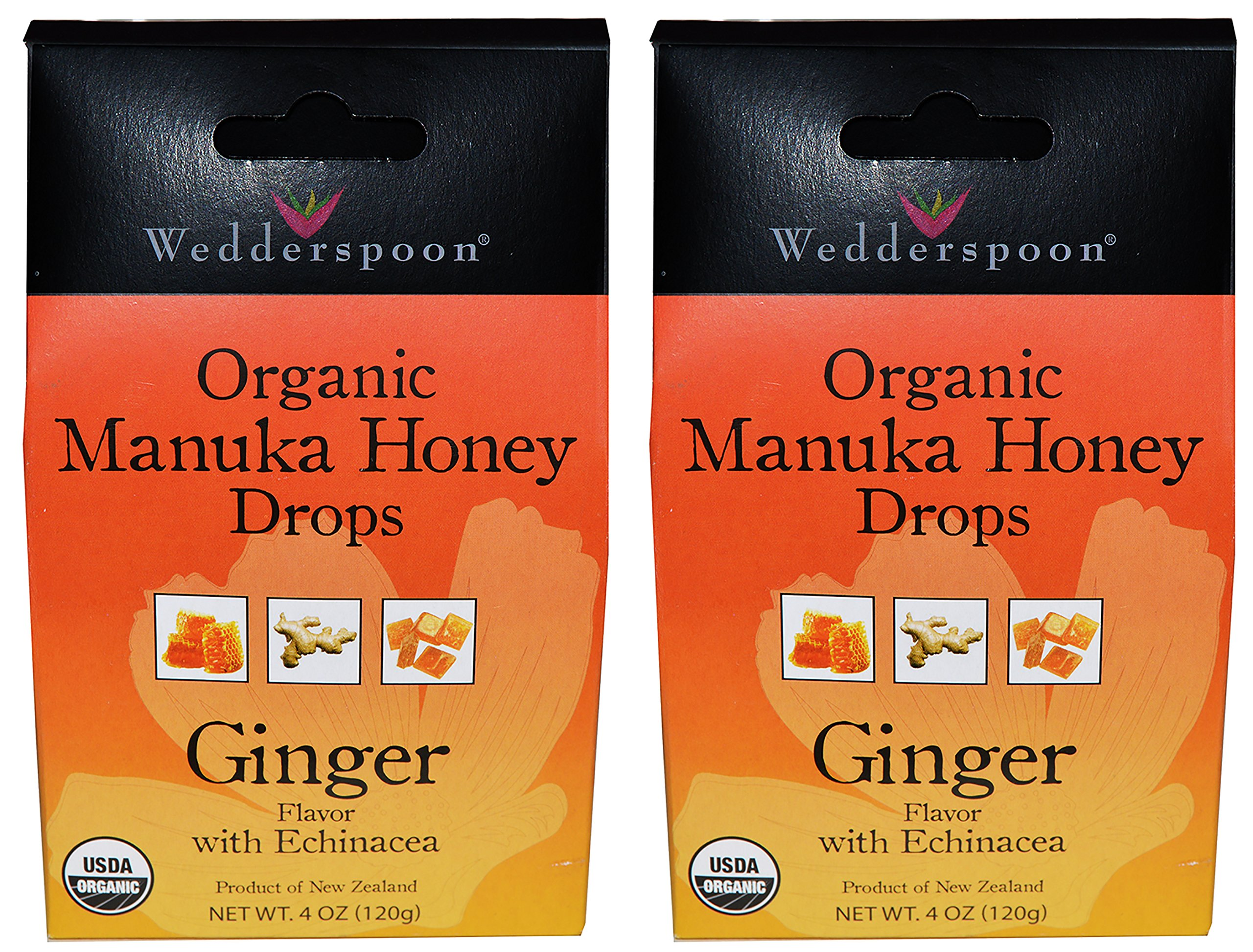 Wedderspoon Organic Manuka Honey Drops (Ginger Pack of 2)