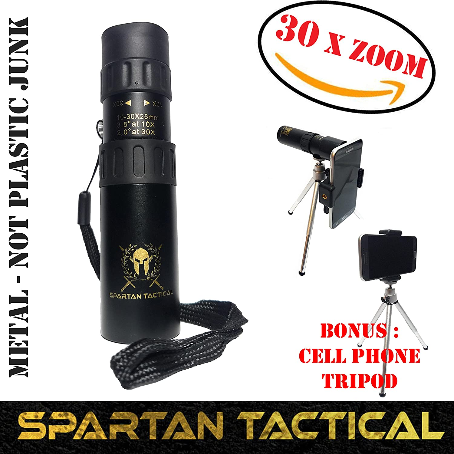 Spartan Tactical, Monoculars for adults, monocular telescope, zoom lens for smartphone, nikul high power monocular, BEST 30X ZOOM!!, Camping gear, spotting scope, cell phone tripod, Molon Labe