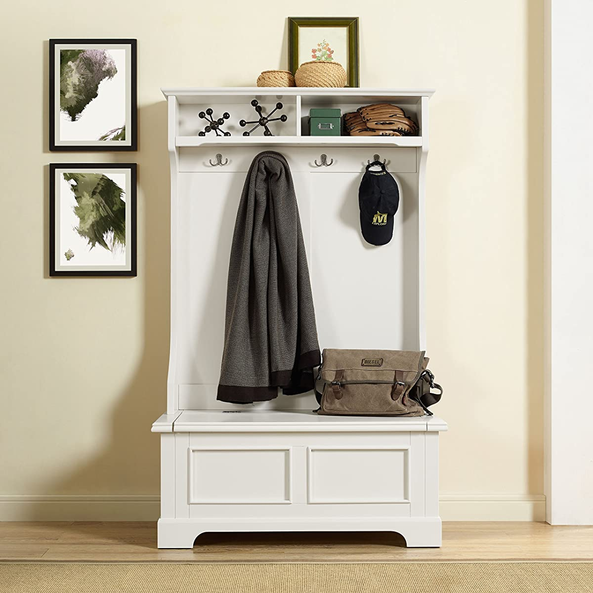 Crosley Furniture Campbell Hall Tree - White