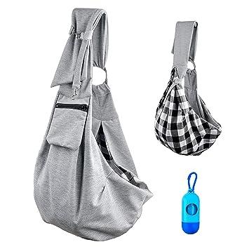 Bolsa de transporte para perros y gatos, manos libres suave reversible ajustablede algodón, bolsa