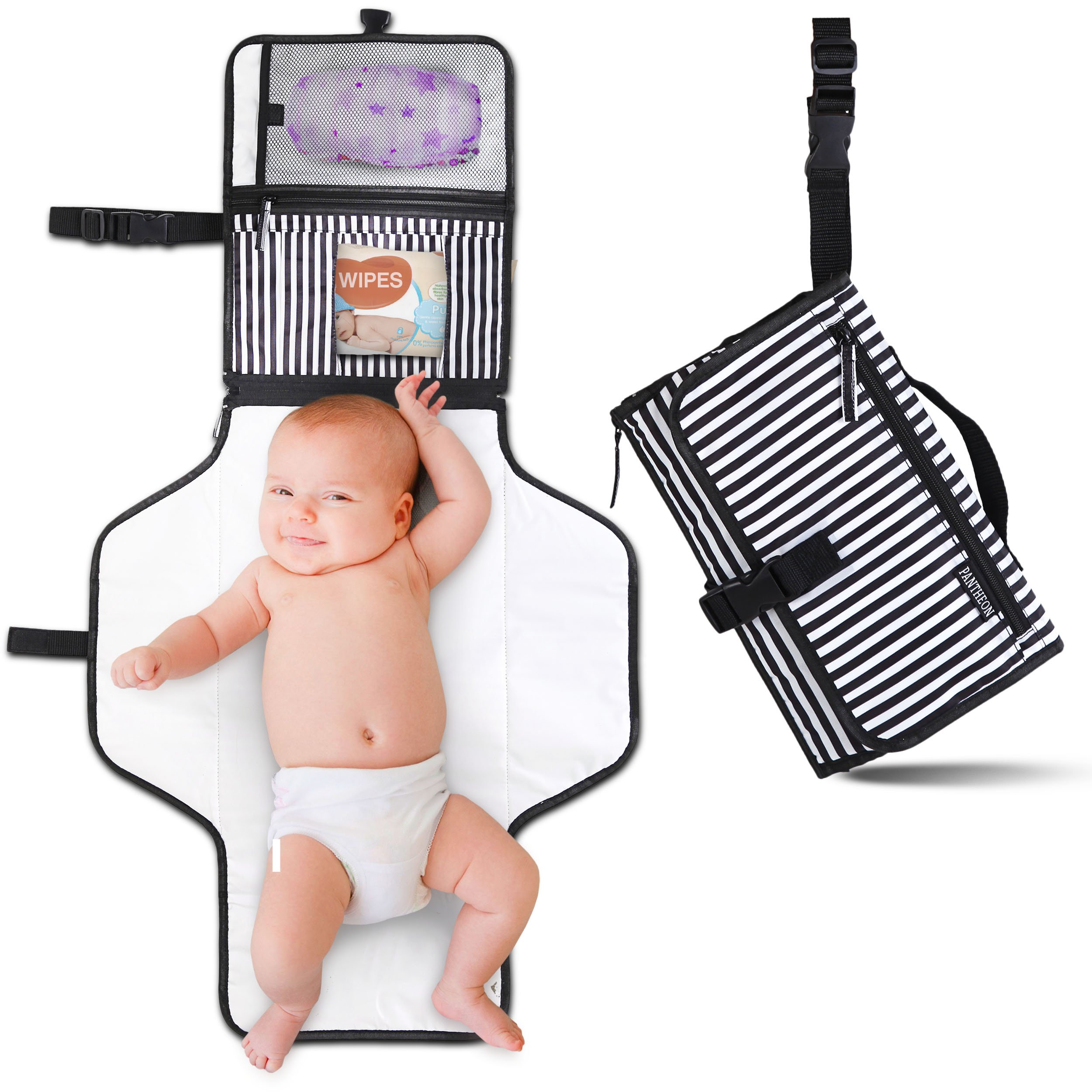 Portable Diaper Changing Pad Clutch, Travel Changer Station Kit for Baby and Infant with Extra Long Mat by Pantheon, Holds Diapers and Wipes (Black Breton Stripes) by Pantheon