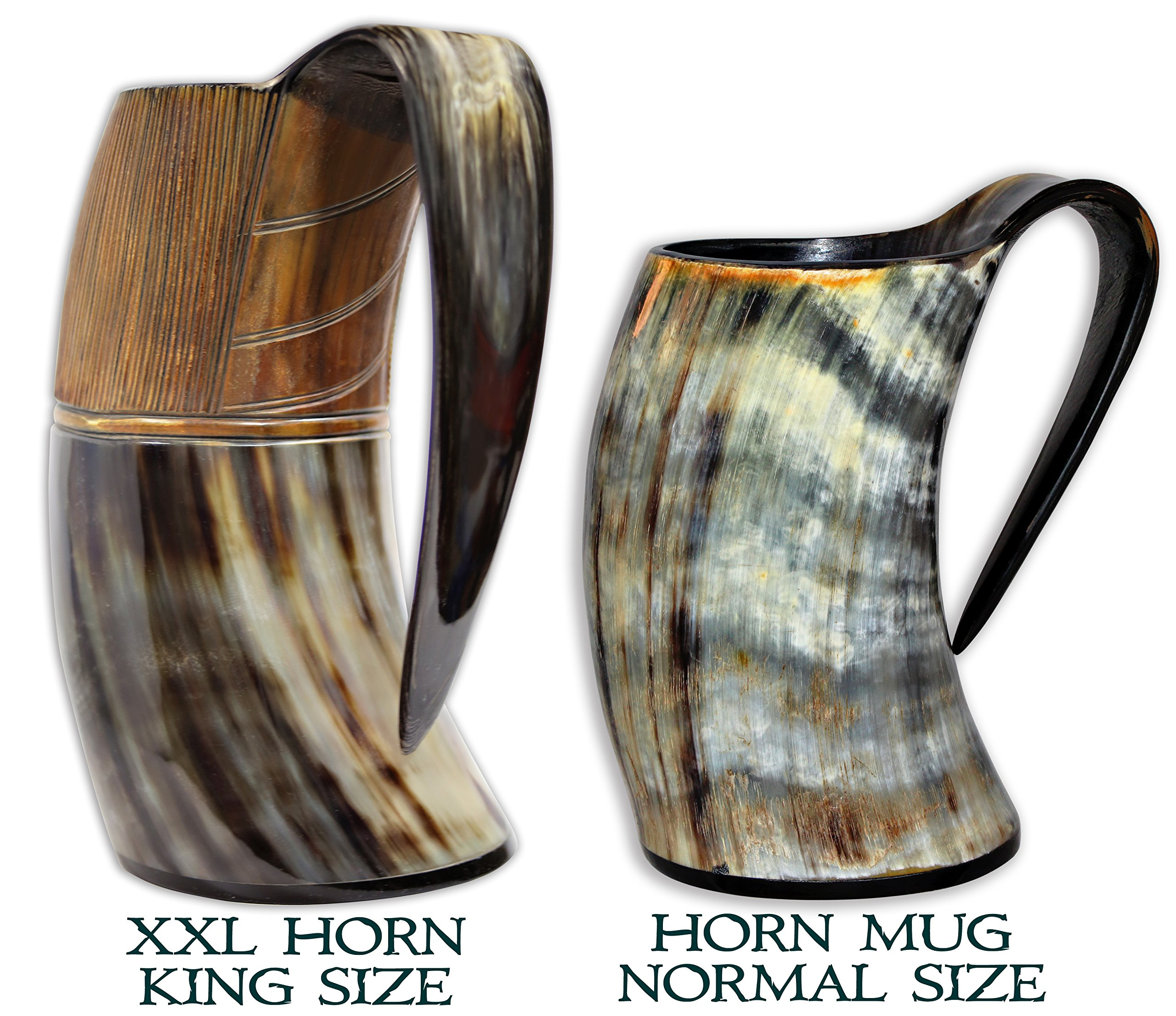XXL King Size Authentic Natural Style Viking Buffalo Drinking Pitcher / Mug - Authentic Medieval Inspired Mug/Pitcher (42 oz) (Lighter Color) by Valhalla Drinkware (Image #2)