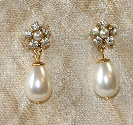 22edabb27f0f7 Amazon.com: Pearl Bridal Earrings,Bridesmaids Earrings,Bridal ...
