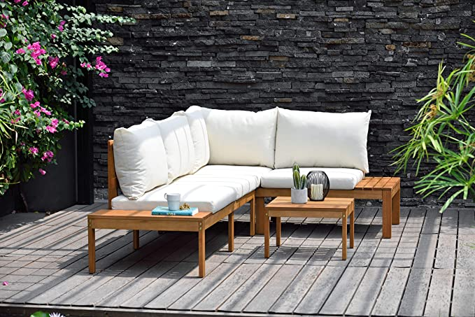 Brampton Lincoln 4 Piece Patio Sectional Set Eucalyptus Wood And Off White Cushions Ideal For Outdoors And Indoors Garden Outdoor Amazon Com