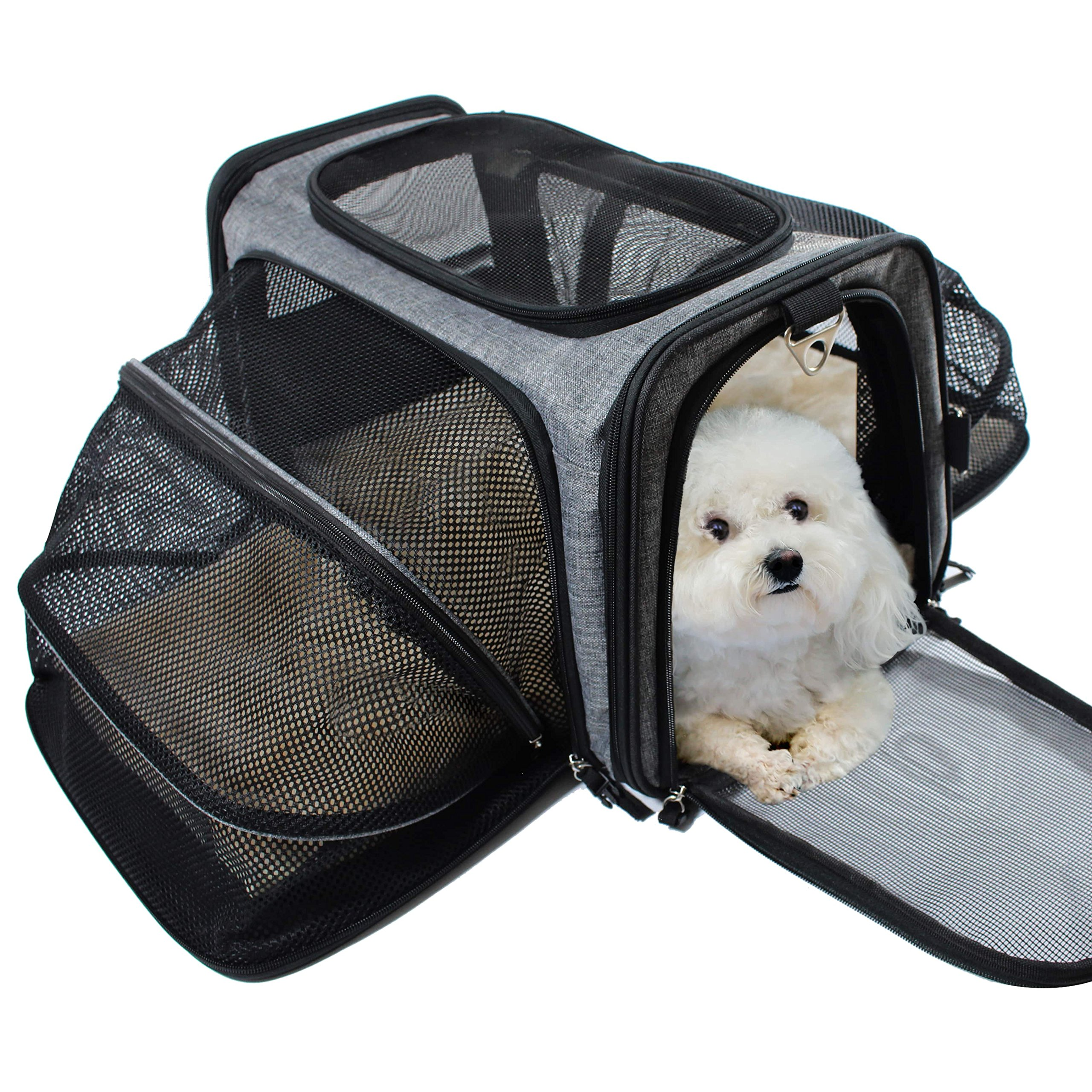 Pet Carrier for Dogs & Cats - Airline Approved Expandable waterproof Soft Animal Carriers -Portable Soft-Sided Air Travel Bag- Eco-friendly material Roomy With a Side Pocket and a Fleece Bed