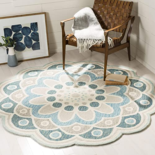 Safavieh Novelty Collection NOV101A Handmade Wool Area Rug, 6 x 6 Round, Grey Blue