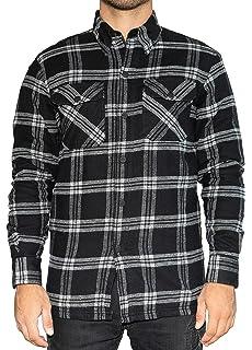Cuadros Negro-Banco BRUBAKER Camisa de protecci/ón para Moto Estilo Lumberjack Forro Interior Aramida y Bolsillos para Protectores