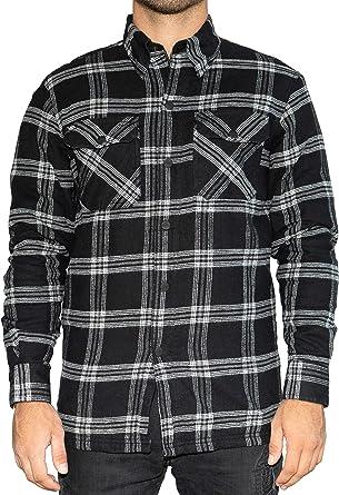 BRUBAKER Camisa de protección para Moto - Forro Interior Aramida y Bolsillos para Protectores - Estilo Lumberjack - Cuadros Negro-Banco: Amazon.es: Ropa y accesorios