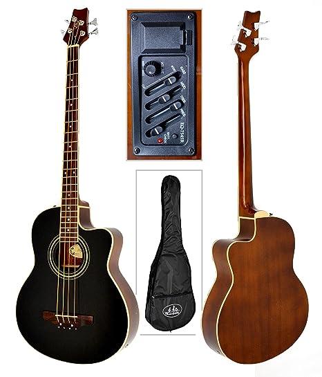 Acústica S de Bass Guitarra Negro Sapele con 4 banda EQ Pickup ...