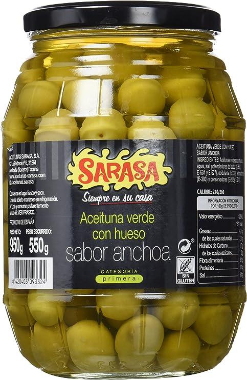 Sarasa Aceituna Verde con Hueso Sabor Anchoa - Paquete de 6 x 1400 gr - Total: 8400 gr