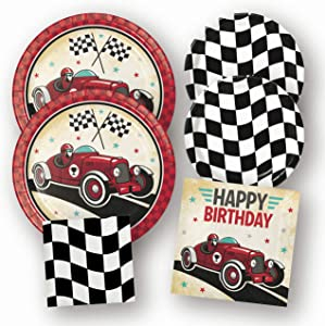 Race Car Racing Birthday Party Supplies, Paper Plates Napkins Set, 64 Pieces