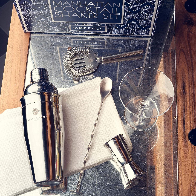 Cuill/ère et Livret de recettes Fonte Rusty Barrel 2 Cocktail Grand Shaker en acier inoxydable Style Manhattan Shaker Pilon Passoire Mesure Barre Verseur
