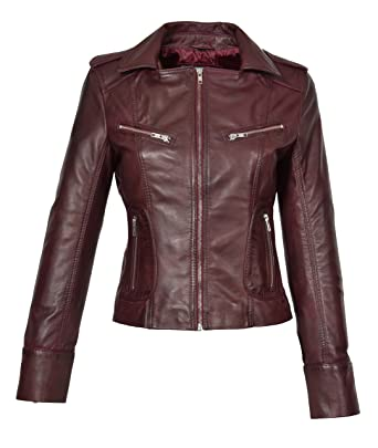 Damen Lederjacke Bikerjacke echtes Leder dunkelrot Kleidung