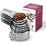 7-Piece Stainless Steel Measuring Cups - Made of 1 Solid Piece Stainless Steel, Engraved Measurements - Dual Pour Spouts - Ne
