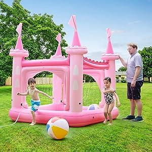 Teamson Kids - Water Fun Castle Inflatable Kiddie Pool with Pump - Pink
