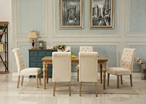 Roundhill Furniture Collection Habitanian Solid Wood Dining Table with 6 Button Tufted Chairs, Tan,