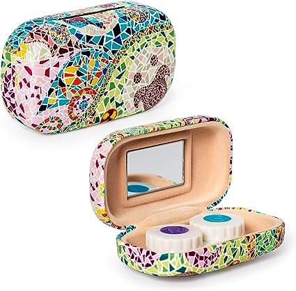 Estuche Porta Lentillas Rígido con Espejo Incluido, Medidas 5 x 9 cm, Parte de la Colección Elementos: Amazon.es: Belleza