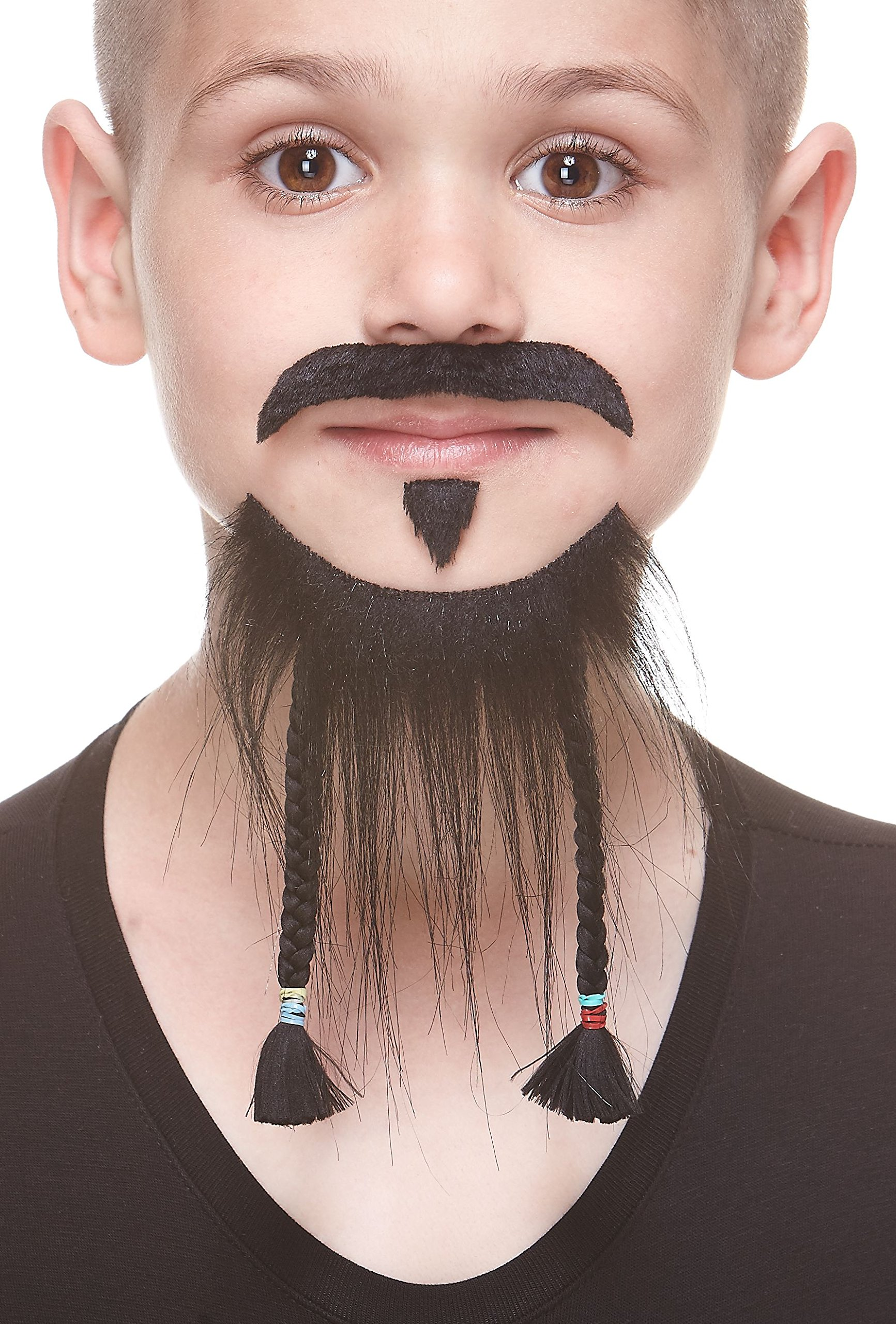 Mustaches Self Adhesive, Novelty, Fake, Small, Braided Pirate Beard, and Soul Patch, Black Color