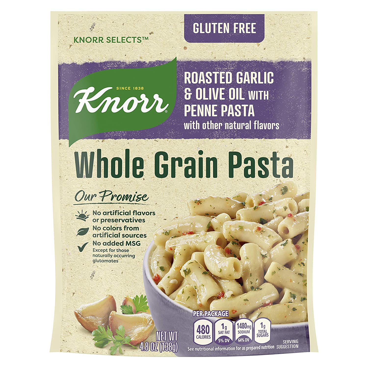 Knorr Selects Whole Grain Pasta For a Delicious Pasta Side Dish Roasted Garlic & Olive Oil Gluten Free 4.8 oz