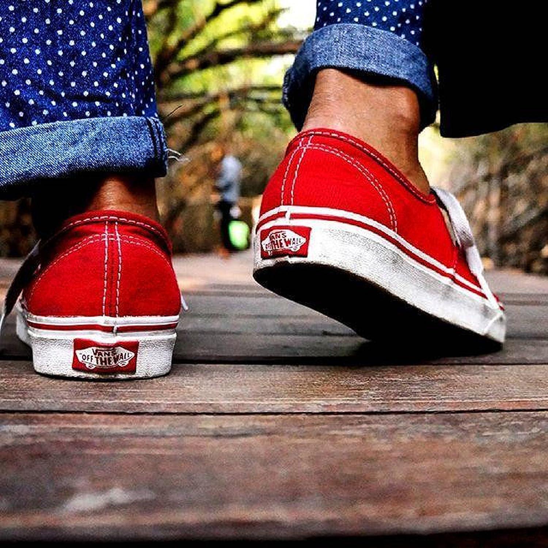 Furgonetas Auténticos Zapatos De Las Mujeres De Color Rojo IECxMd