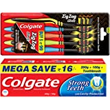 Colgate Strong Teeth Toothpaste - 300 g with Free Toothbrush and Colgate Zigzag Black Medium Toothbrush - Pack of 5