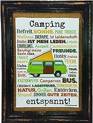 AnneSvea Camping entspannt. Druck Poster A4 Bus Camper Caravan Geschenk Typo Deko Womo