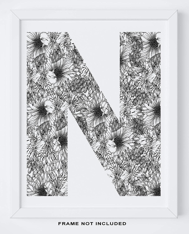 Gift Typography Home Decor Monogram Wall Art Shabby Chic Boho Letter Print