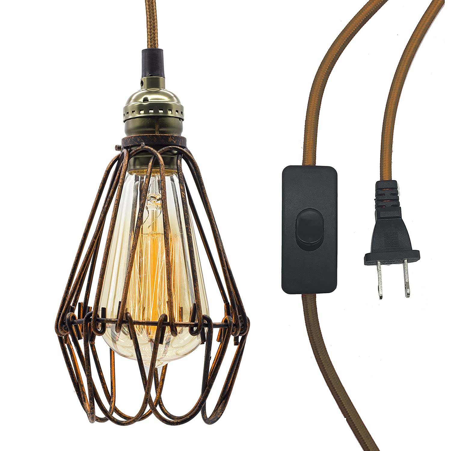 Ceiling Pendant Light With Cage And Switch Vintage Hanging