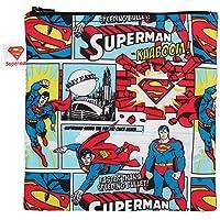 Bumkins DC Comics Superman Sandwich Bag / Snack Bag, Reusable, Washable, Food Safe, BPA Free, 7x7