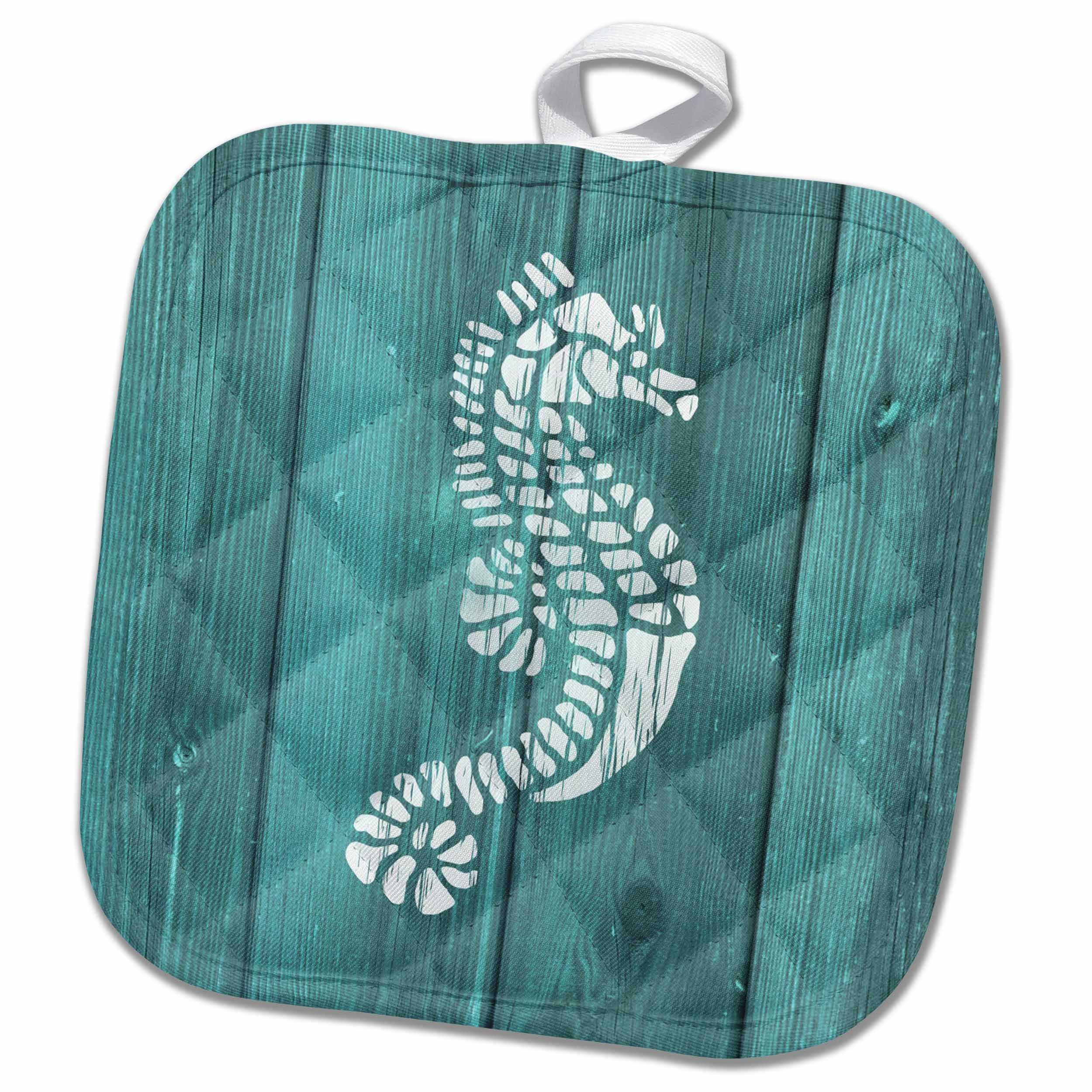 3D Rose Photo of Seahorse Aqua Painted Real Wood Pot Holder, 8 x 8'', White