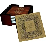 Jane Austen Books Coaster Set - Sandstone Tile with Cork Back - 6 Piece Set