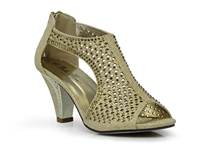 f5127f762d7 Enzo Romeo kinmi30 Womens Open Toe Mid Heel Wedding Rhinestone Gladiator Open  Toe Mesh Sandal Wedge