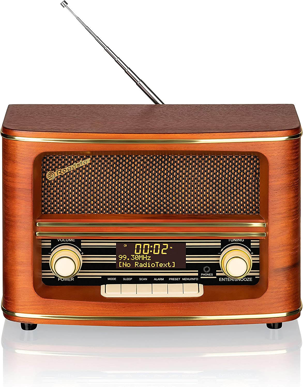 Roadstar Digitales Dab Retro Radio Dab Dab Ukw Radio Aux In 16 Watt Musikleistung Holzfarben Hra 1500 D Heimkino Tv Video