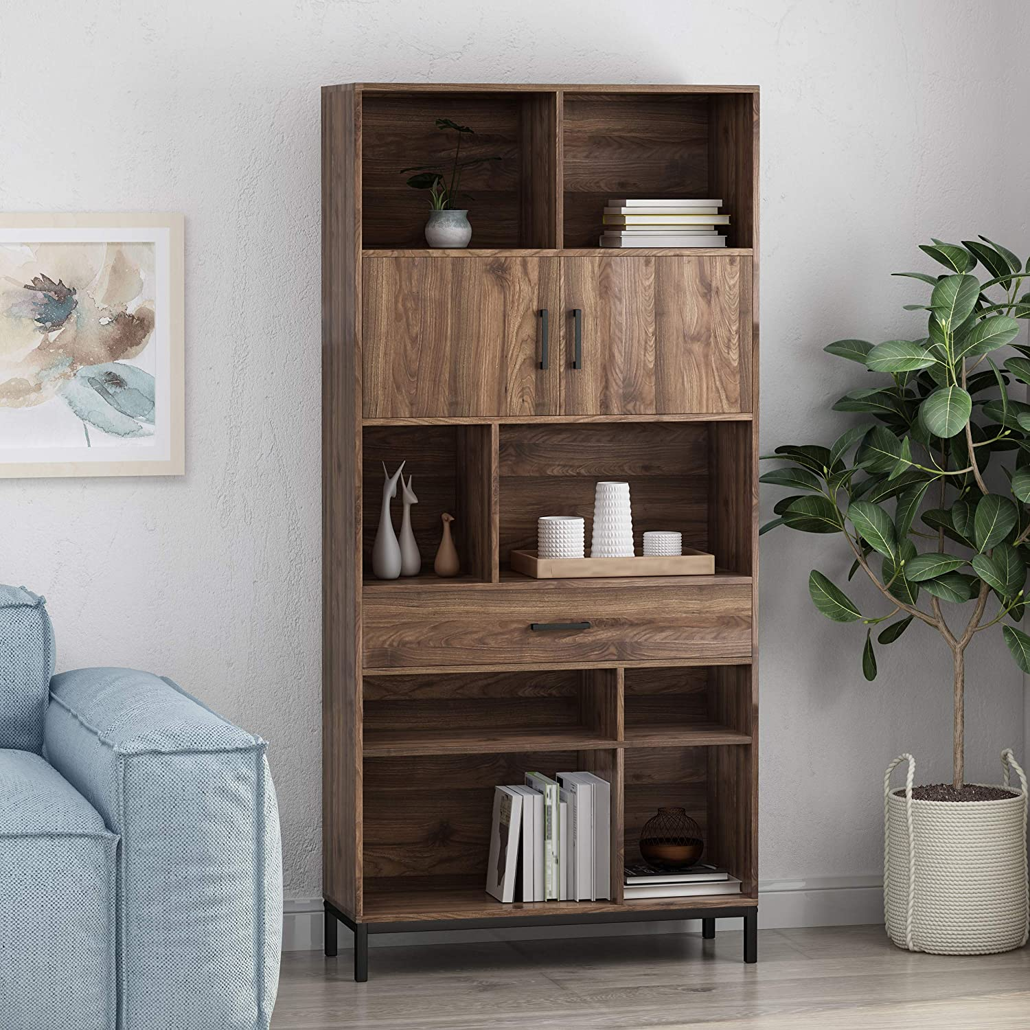 Great Deal Furniture Yvonne Contemporary Faux Wood Cube Unit Bookcase, Walnut and Black