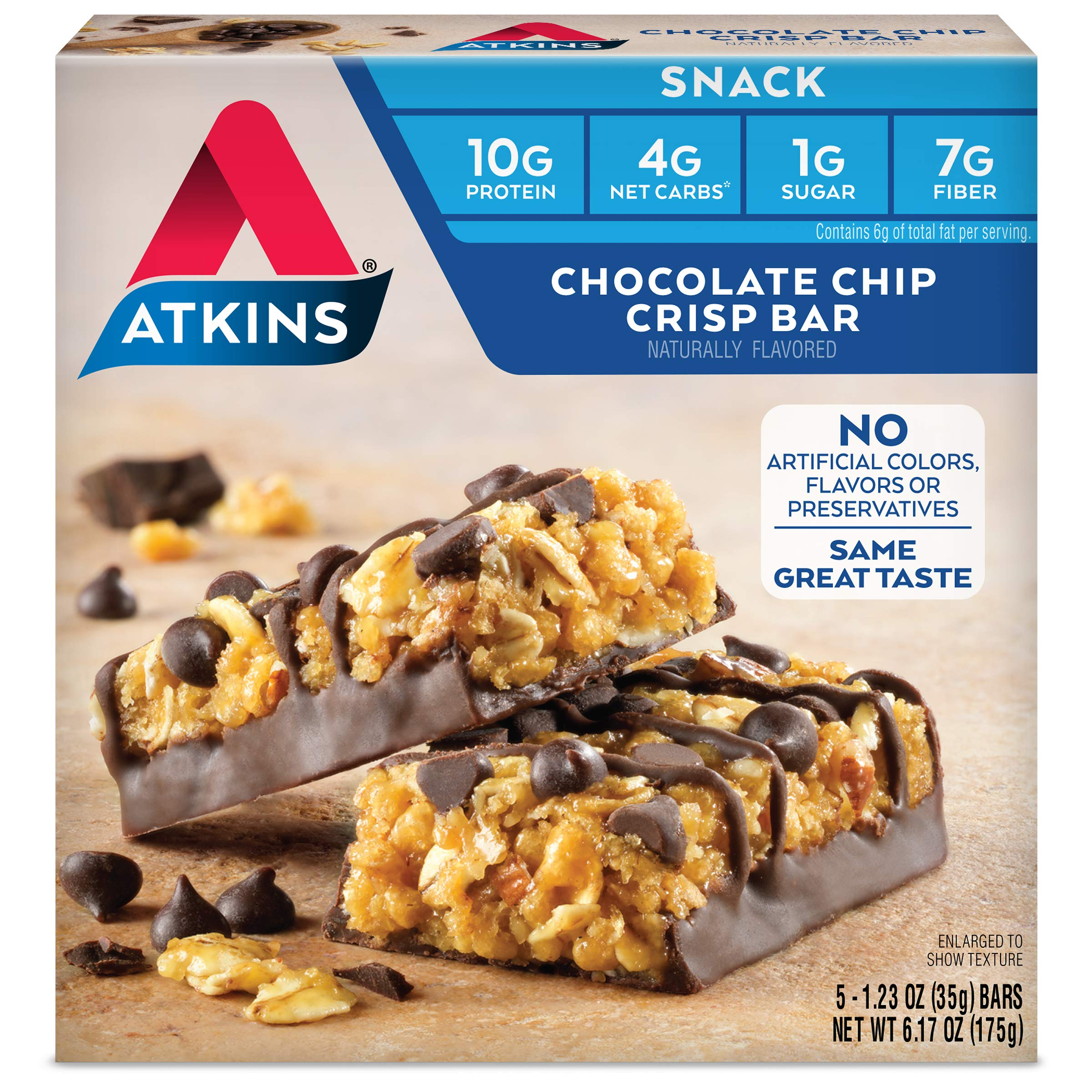 Atkins Day Break Bars, Chocolate Chip Crisp, 5 Count, 1.2-Ounce Bars (Pack of 3) by Atkins