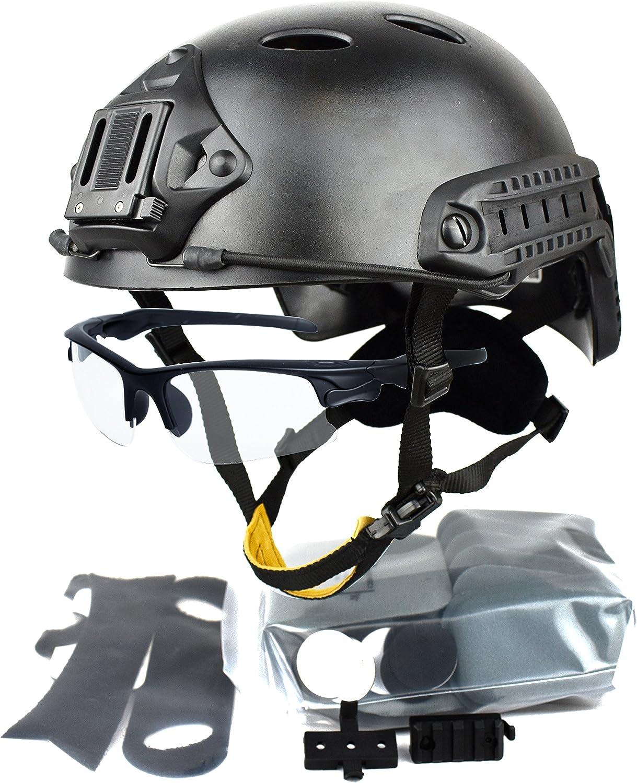 QHIU Casco táctico Combate Militar Protecciones Ligero PJ Fast con Seguridad Gafas para Softair Paintball SWAT CS Deportes al Aire Libre