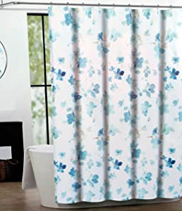 Tahari Fabric Shower Curtain Beige and Blue All Over Printemps by Tahari Home