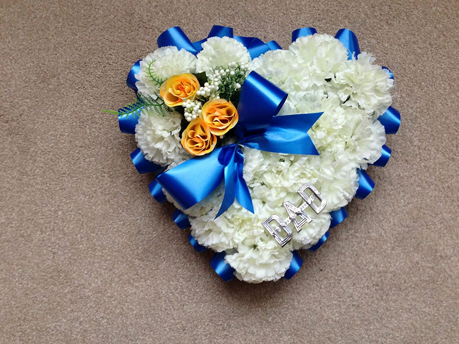 Silk flower heart dad blue bow funeral floral wreath memorial silk flower heart dad blue bow funeral floral wreath memorial tribute amazon kitchen home izmirmasajfo Image collections