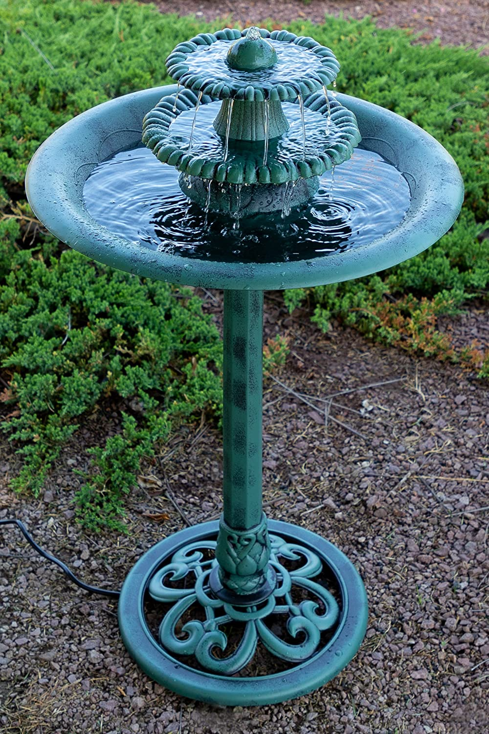 Alpine Tiered Classic Pedestal Garden Water Fountain and Birdbath, Dark Verdigris Green Finish, 35 Inch Tall TEC106