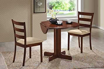 3 piece dining set 36 drop leaf table with two chairs all cherry finish - Dining Table With Two Chairs