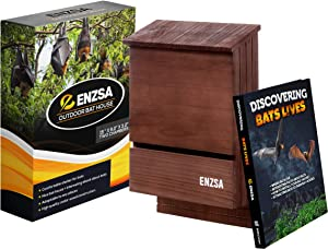 ENZSA- Premium Outdoor Bat House with Large Double Chamber Cedar Wood - Solid Shelter for Bats Comfortable Habitat - Weather Resistant Easy to Install & Free Useful Ebook