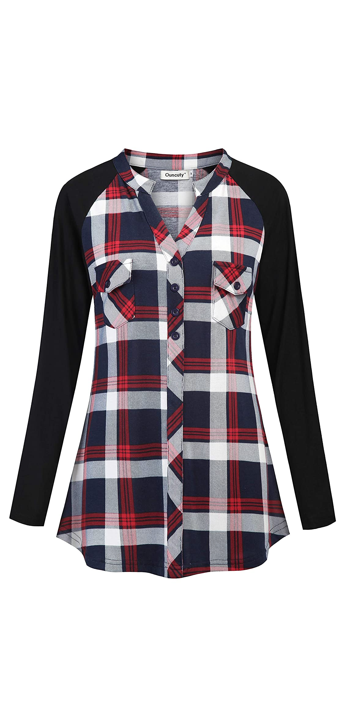 Womens Plaid Flannel Shirts Long Sleeve V Neck Casual