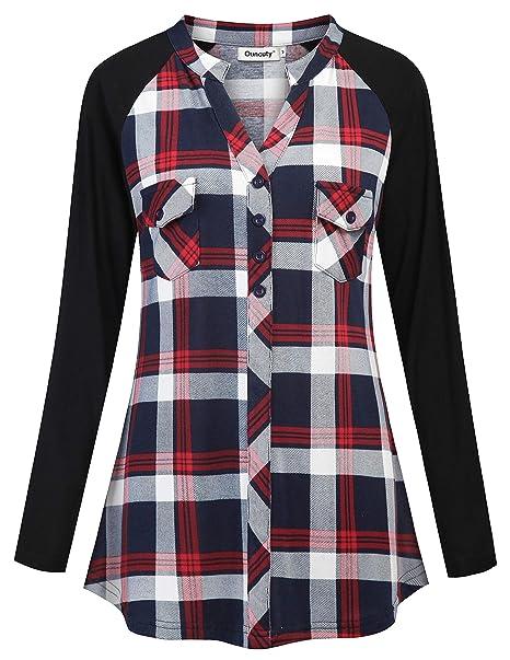 Amazon.com: Ouncuty - Camisa de franela para mujer, manga ...