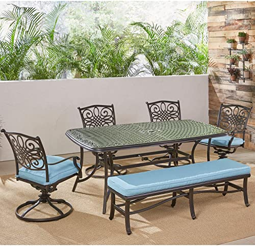 Hanover TRADDN6PCSW4BN-BLU Traditions 6 Piece Dining Set