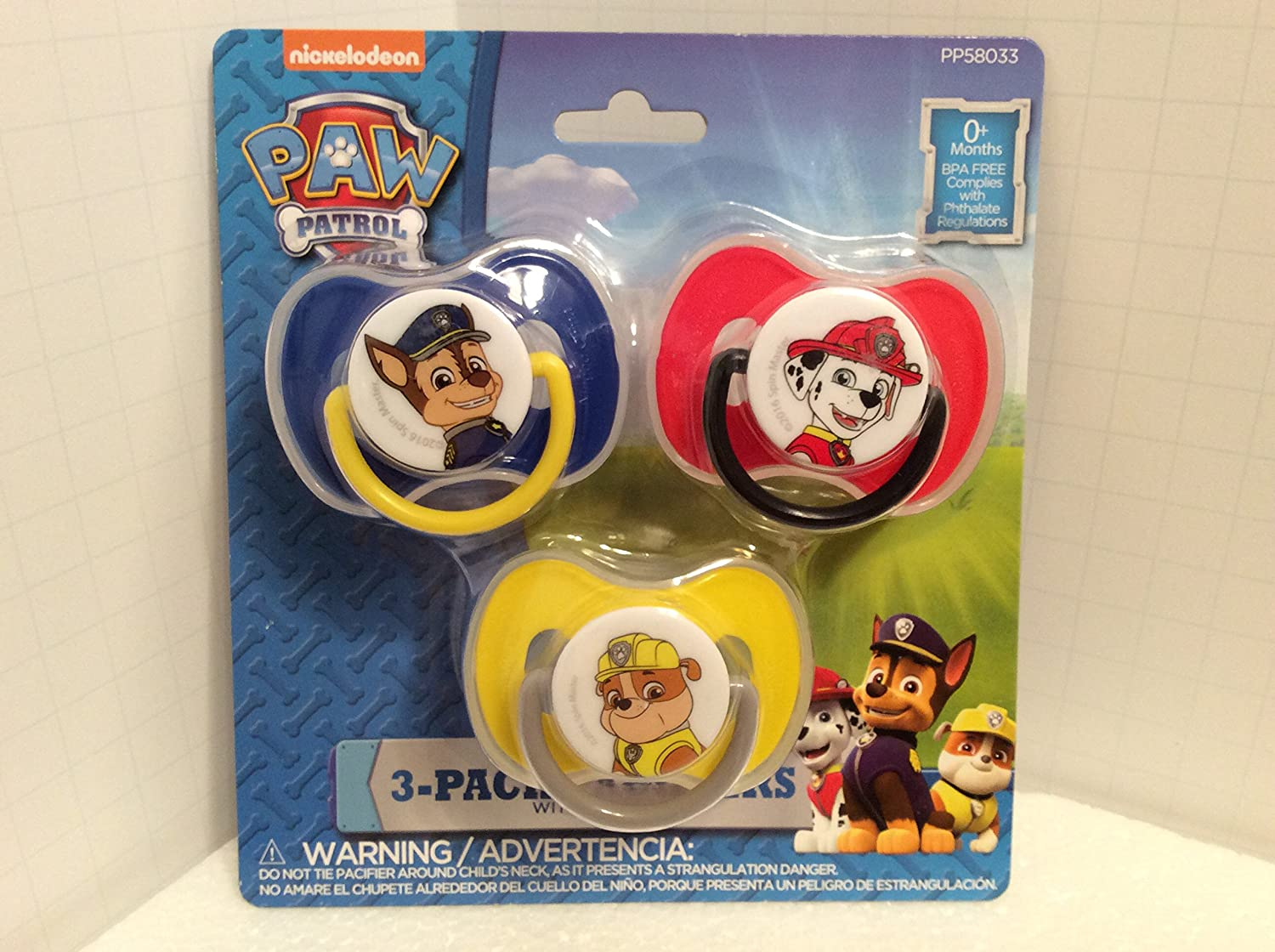 Amazon.com : PAW Patrol - 3 Count Pacifiers - Red, Blue, and Yellow ...