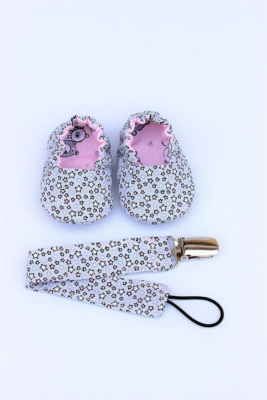 Conjunto patucos de tela y chupetero para bebés, zapatillas ...