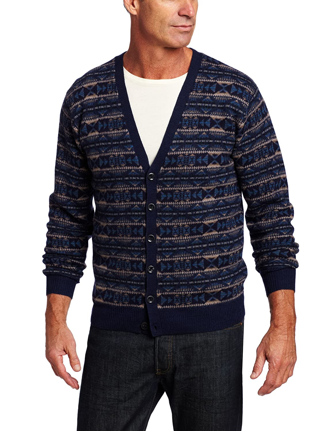 1950s Men's Clothing Pendleton Mens Blue Yavapai Jacquard Cardigan Sweater $128.91 AT vintagedancer.com