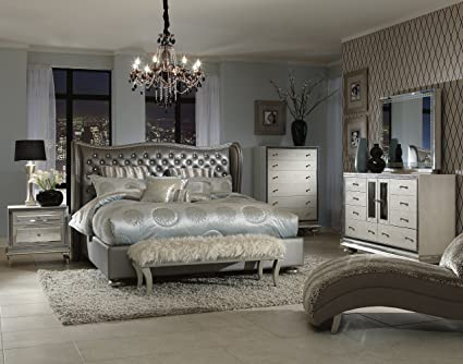 Hollywood Swank California King Graphite Bedroom Set By Aico Amini
