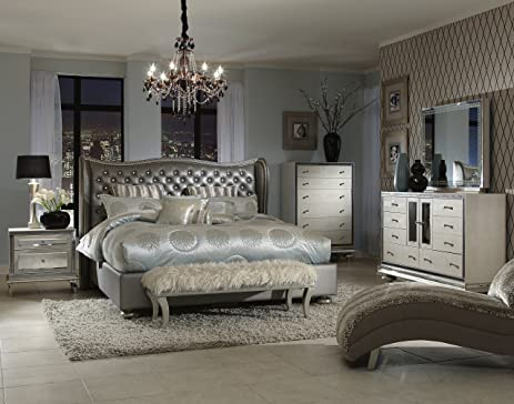aico bedroom sets. Hollywood Swank California King Graphite Bedroom Set By Aico Amini Amazon com